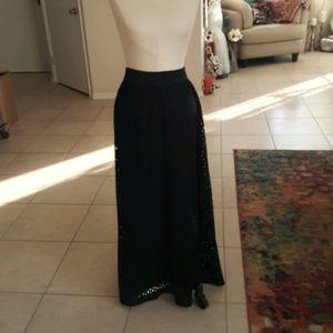 Long Black Lace Skirt-Med